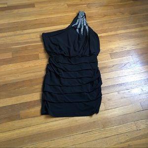 Black sequin one shoulder body con dress sz L